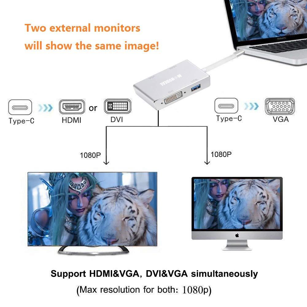 Male to Female Multi-Display Video Converter Support HDMI/&VGA DVI/&VGA Simultaneously USB C to HDMI//DVI//VGA Adapter Monodeal 4 in 1 USB 3.1 Type-C Hub VGA//HDMI//DVI Video Adapter 4K UHD