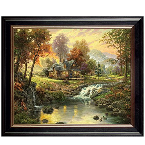 Art Glory Landscape Oil Paintings Canvas with Frame Prints Gorgeous Hill and Log Cabin Picture for Home or Office Wall Decoration, Easy to Hang, 20x16 (Log Cabin Canvas)