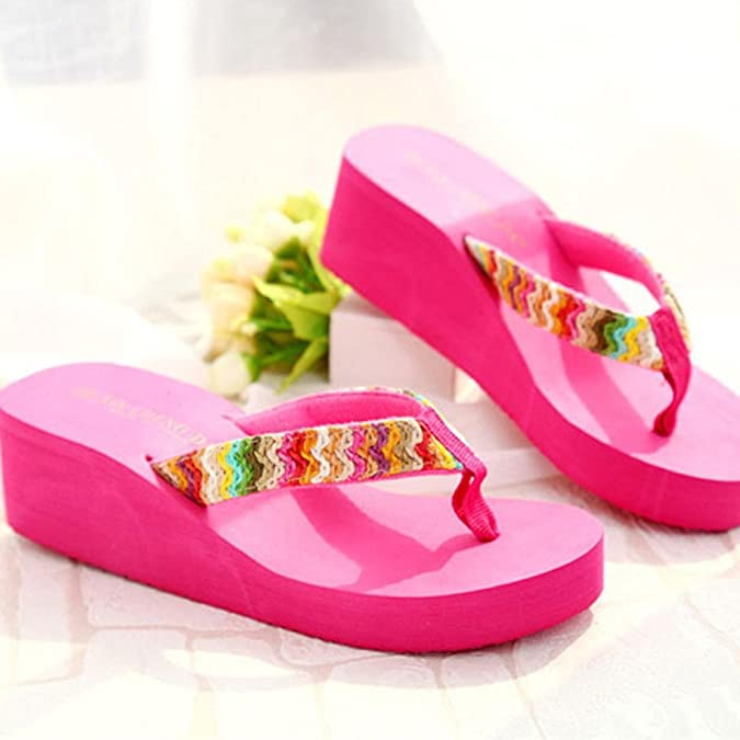 Ouneed® Sommer Plattform Sandelholz Strand Flache Keil Patch Flip Flops Lady Slippers Damen Erwachsene Zehentrenner (39, hot pink)