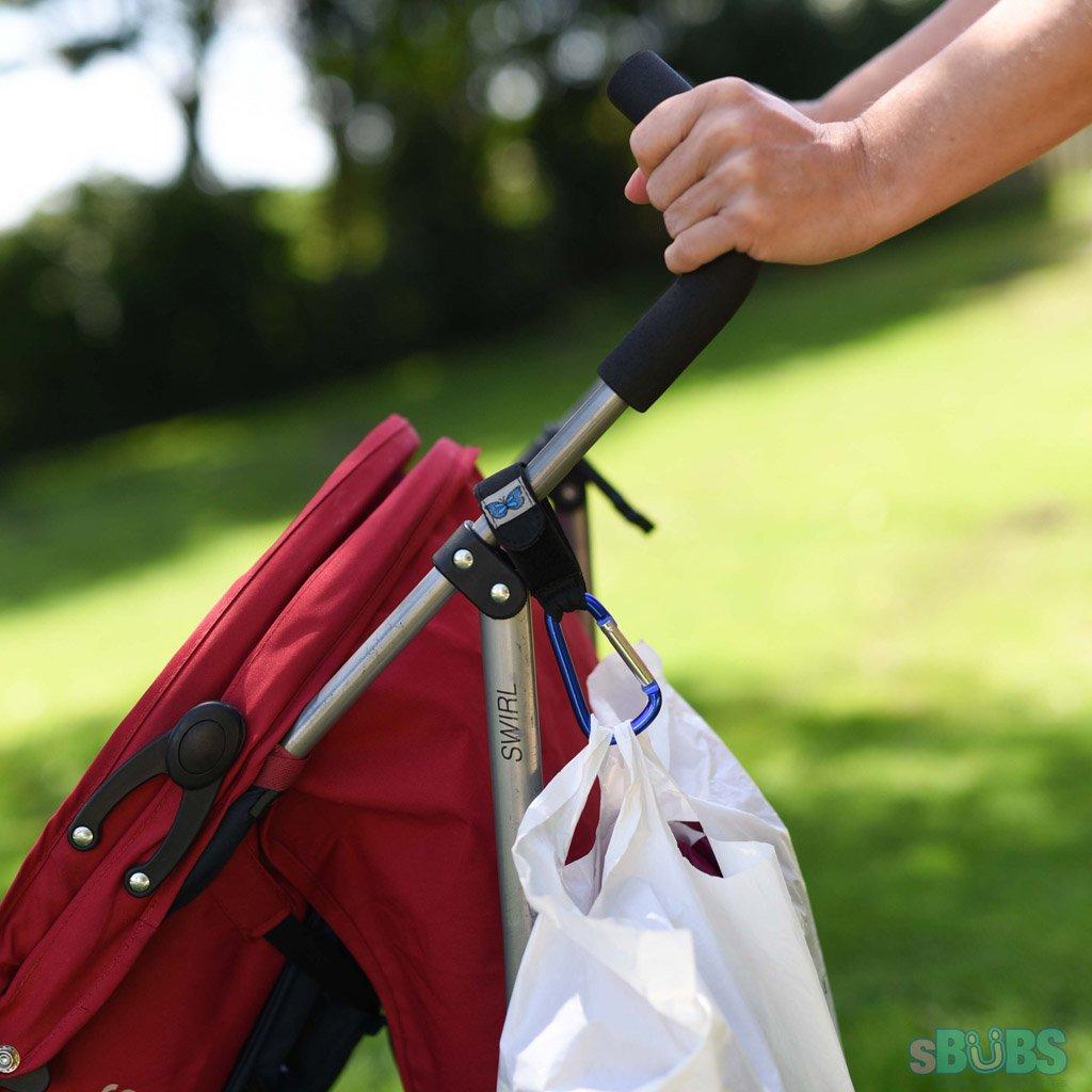 Befestigen Sie Ihre Universal Fit Buggy Clips Sicher Auf Kinderwagen Und Haken Einkaufstaschen Schmetterling blau Kinderwagen Haken