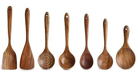 Juego de utensilios de cocina de madera, 7 piezas de herramientas de cocina antiarañazos y