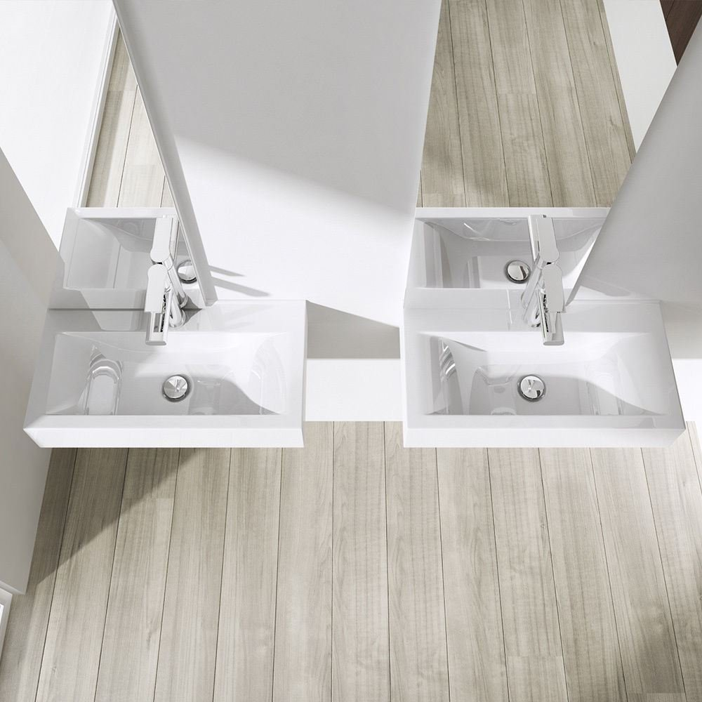 Durovin Bathrooms Ceramic Basin Single Tap Hole Without Overflow Wall Hung or Counter Top Mount Sink Rectangular 600 x 310mm WXD