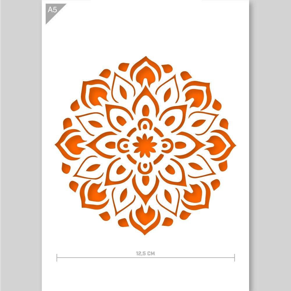 Stencil di mandala - cartone o plastica - A5 14,8 x 21 cm - Diametro mandala 12 cm - pittura, artigianato, muro, stencil mobili - riutilizzabili per bambini (Cartone) QBIX Brand