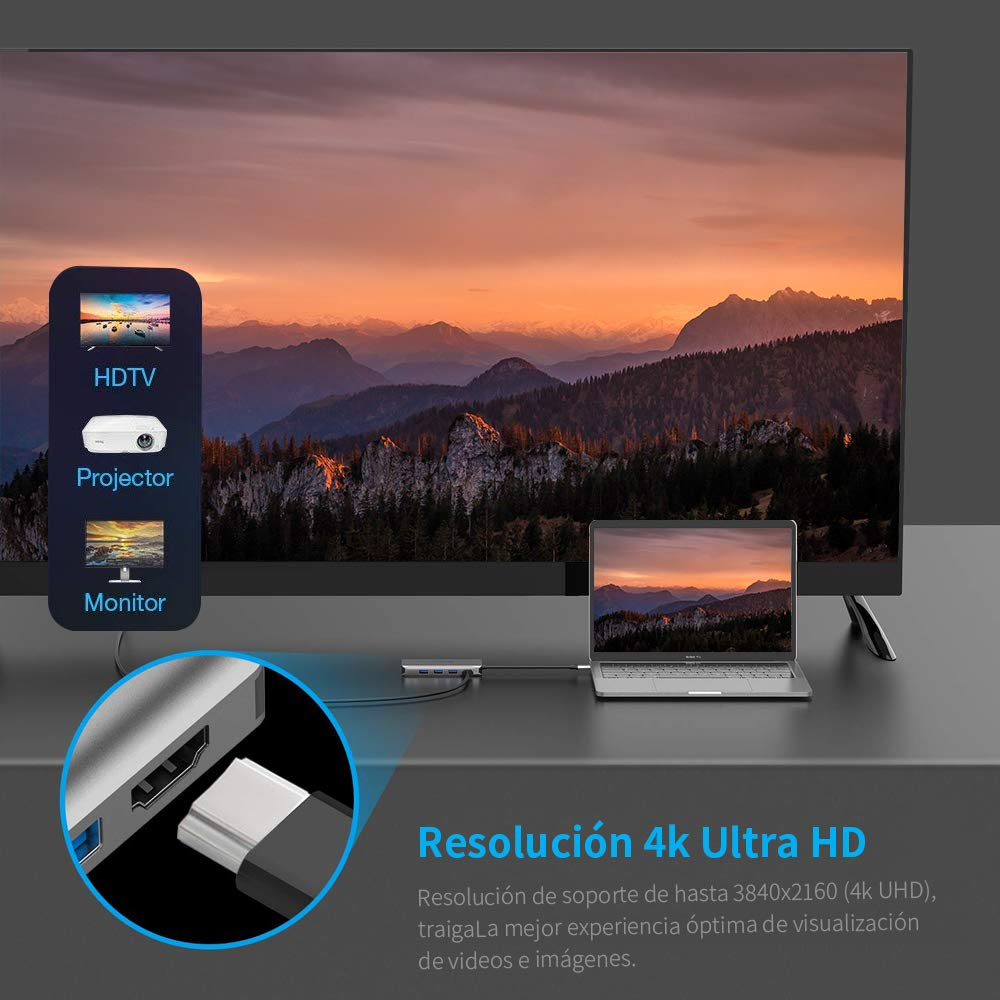 LOBKIN Hub USB-C 8 en 1 con Carga PD, Fabricado en Aluminio, Puerto ethernet, Salida HDMI 4K, 4 USB 3.0, Ranura SD y Micro SD, Puerto de Carga Tipo C