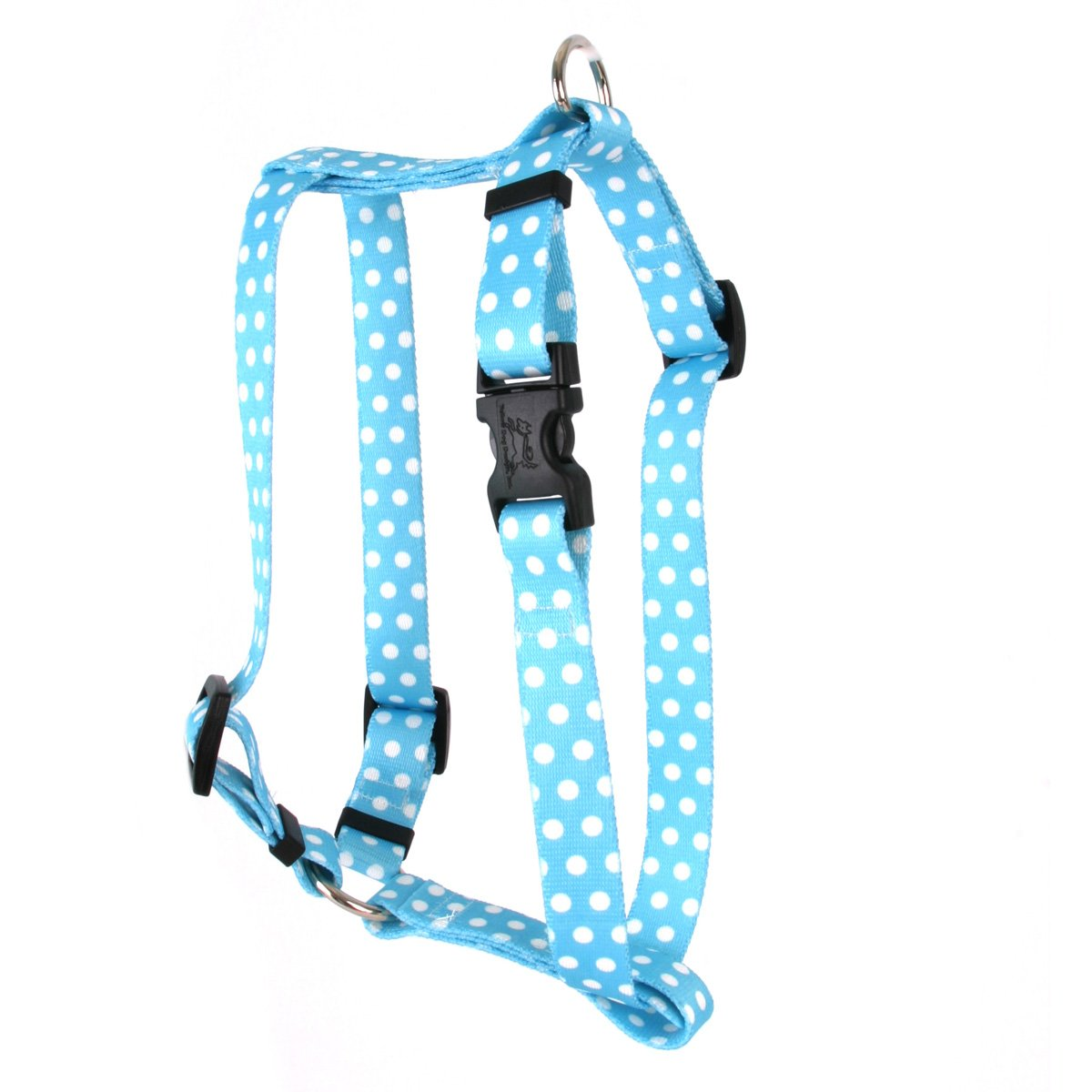 Yellow Dog Design New Blue Polka Dot Roman Style H Dog Harness, Large-1'' Wide and fits Chest of 20 to 28''