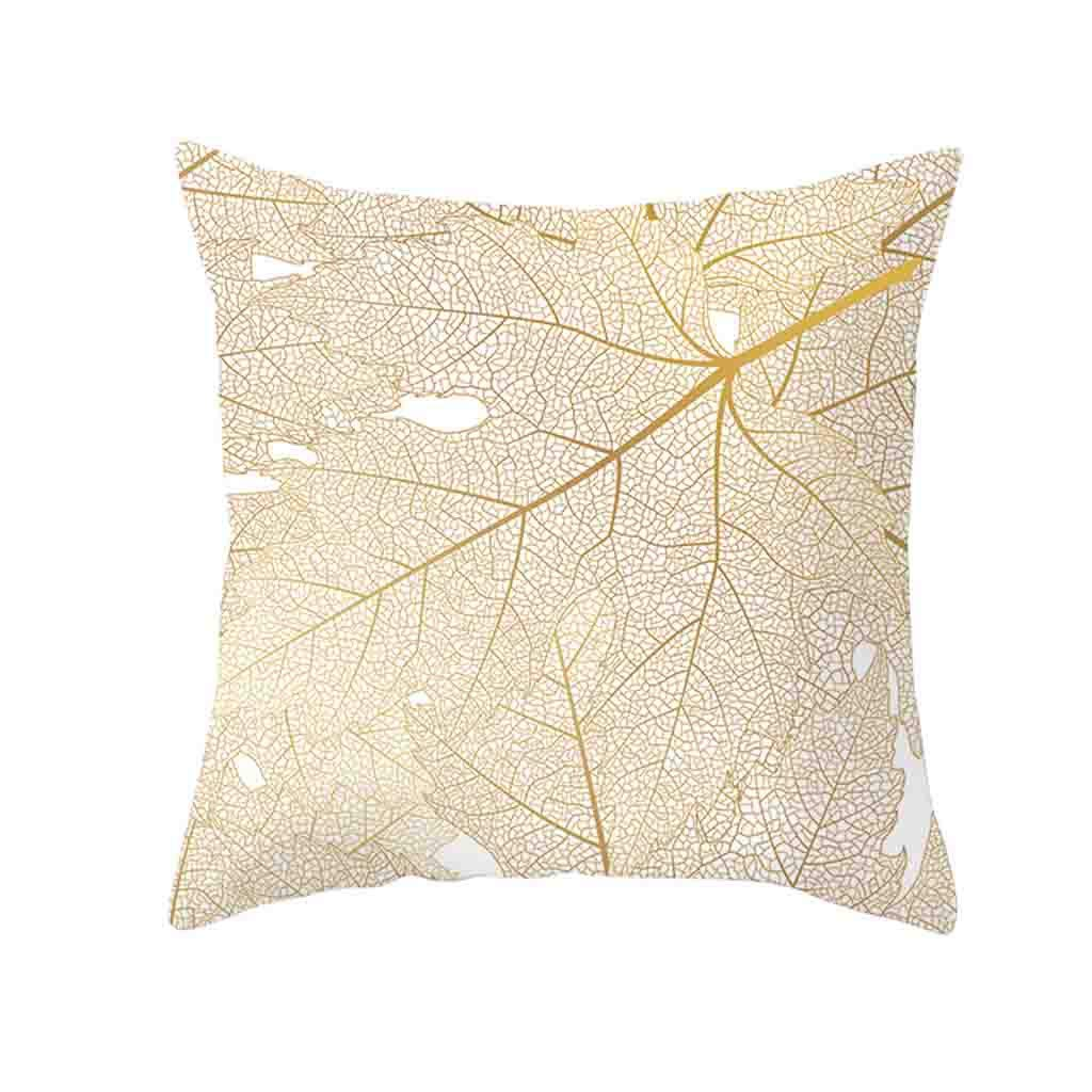 Pet1997 Golden Leaf Hug Pillowcase, Gold Plant Printed Polyester Pillow Case Cover, Sofa Cushion Cover, Home Decor, Luxury Bedding,18 X18 Inch (J)