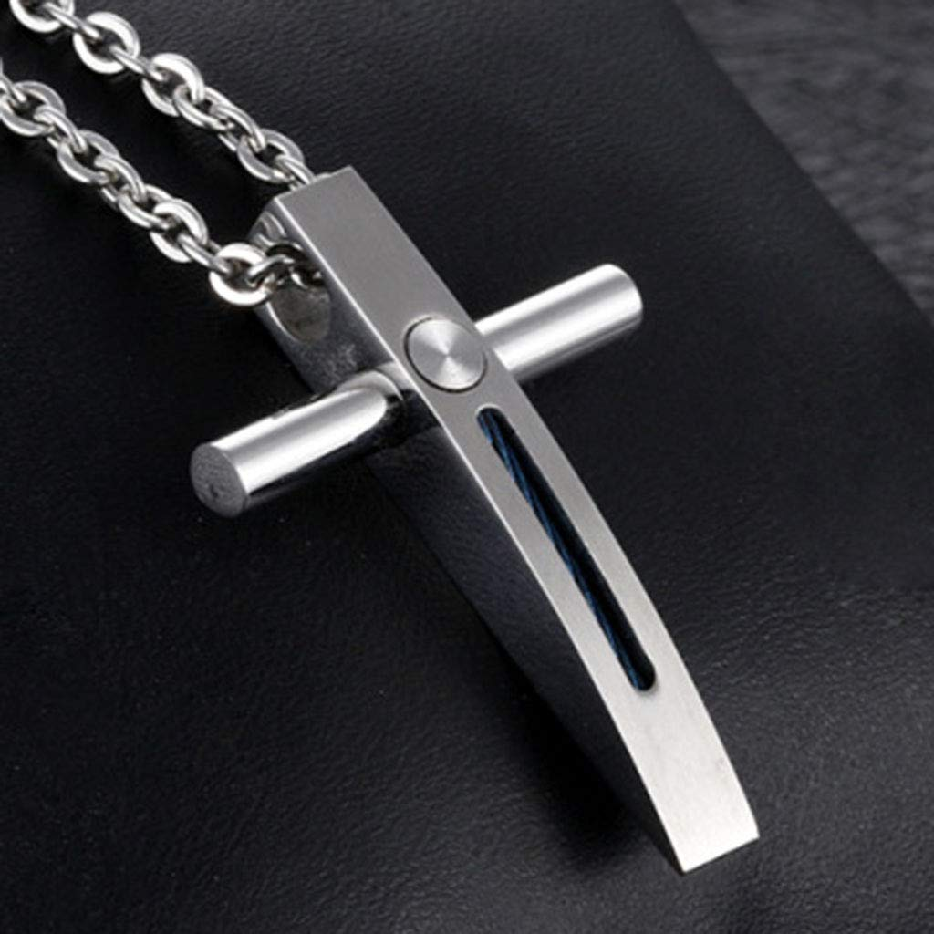 KIMSAI Cross Necklace Long Sweater Chain Gift from Family or Friends Student Simple Necklace Pendant Necklace Titanium Steel Pendant Couple Necklace,Silver