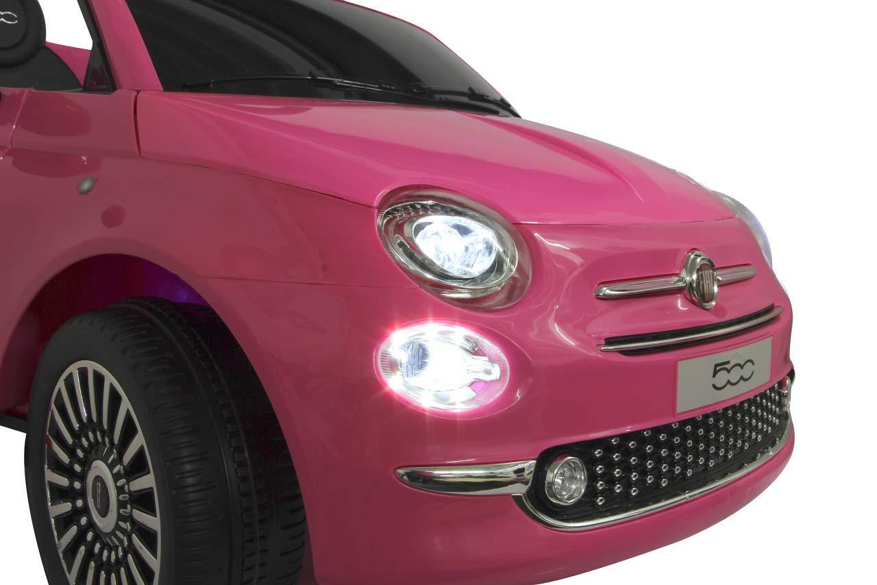 Claxon MicroSD 2 Motores Bater/ía Potente Ruidos Ruedas Ultra-Grip USB Faro LED Color Rosa Jamara 460443 Ride-on Fiat 500 Fucsia 12V-Arranque Suave sin Llave AUX