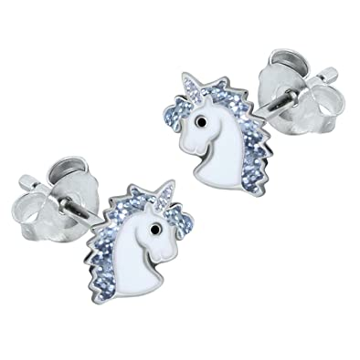 Sterling Silver Unicorn Earrings - Silver Sparkle xeSg6qY7o