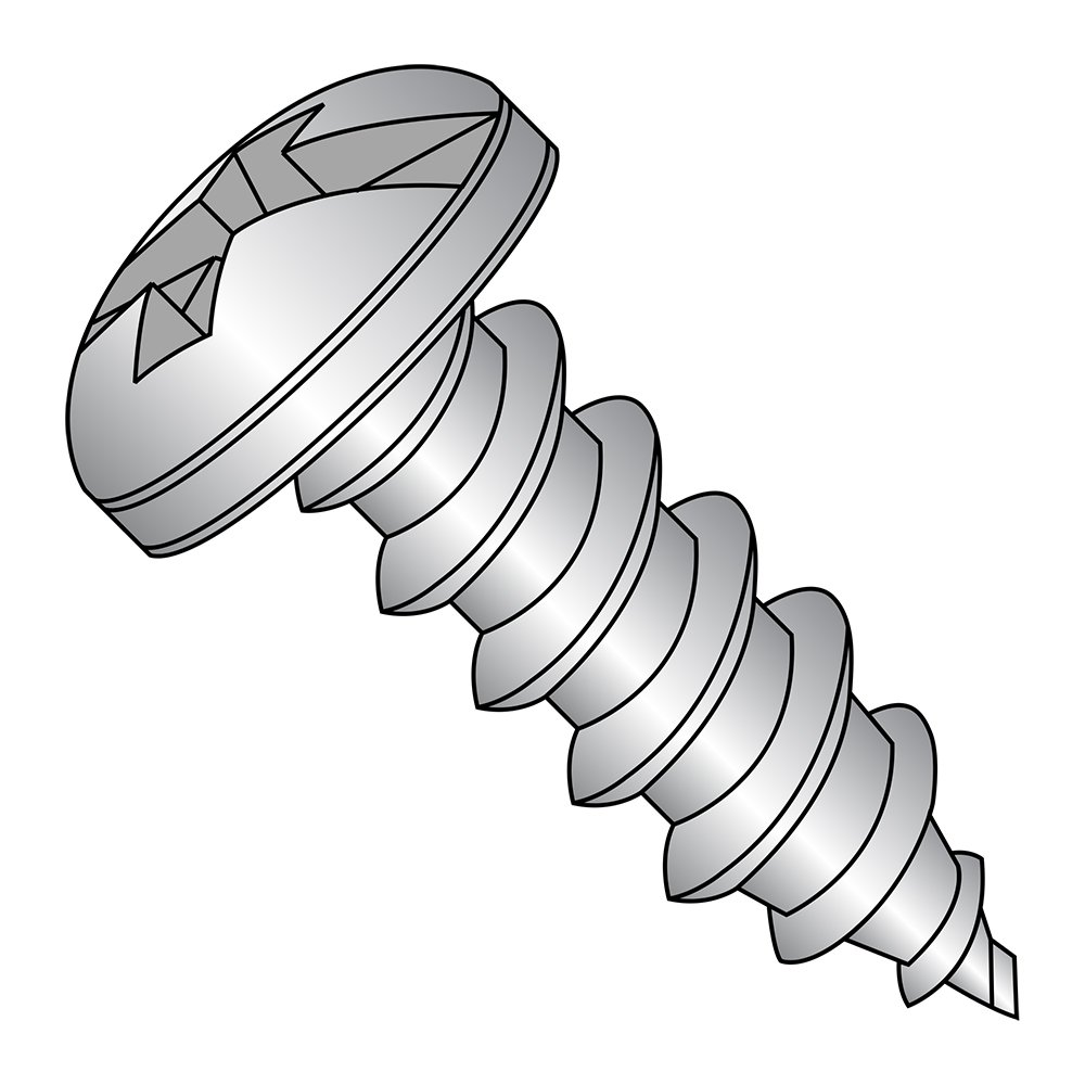 Pack of 50 1//2 Length Combination Phillips-Slotted Drive Plain Finish Type A 18-8 Stainless Steel Sheet Metal Screw Pan Head #8-15 Thread Size