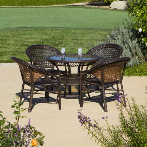 Outdoor 5-piece Wicker Dining Bistro Table Set by Christopher Knight Home (Dining Wicker 5 Outdoor Piece Set)