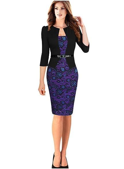 Babyonline Colorblock 34 Sleeve Business Dress Patchwork Women