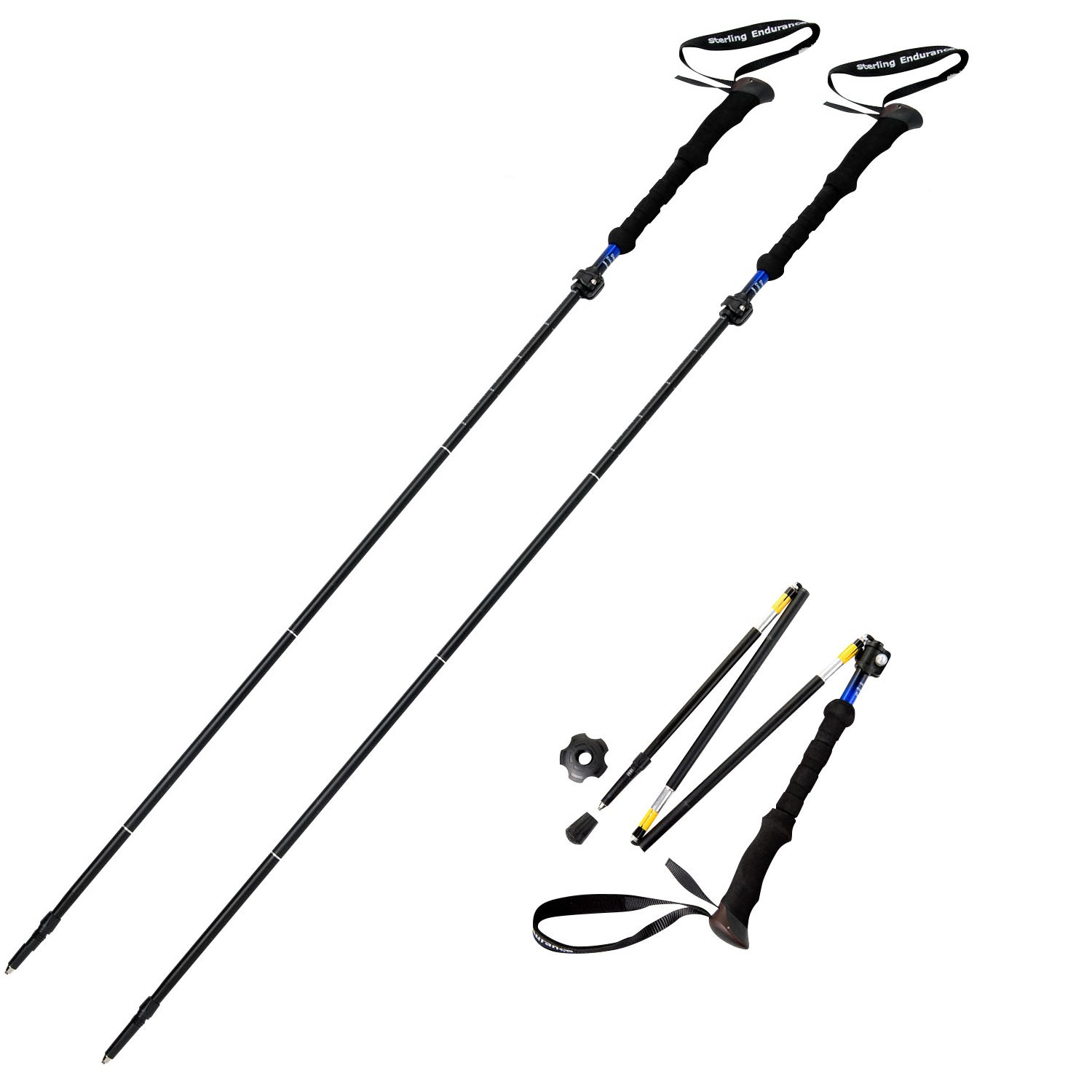Sterling Endurance Trekking Poles Collapsible to 13 1 2 Hiking Poles Walking Sticks Buy 1 Pole or 2 Poles