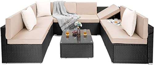 PAMAPIC 9 Pieces Patio Furniture Outdoor Rattan Sectional Sofa Conversation Set