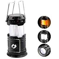 CHIZEA Solar LED Campinglampe, 3 IN 1 LED Camping Laterne Mit Flamme Lampe Funktion Super hell Taschenlampe Ideal für Camping, Outdoor, Wandern, Angeln, Abenteuer, Notfälle (Schwarz)