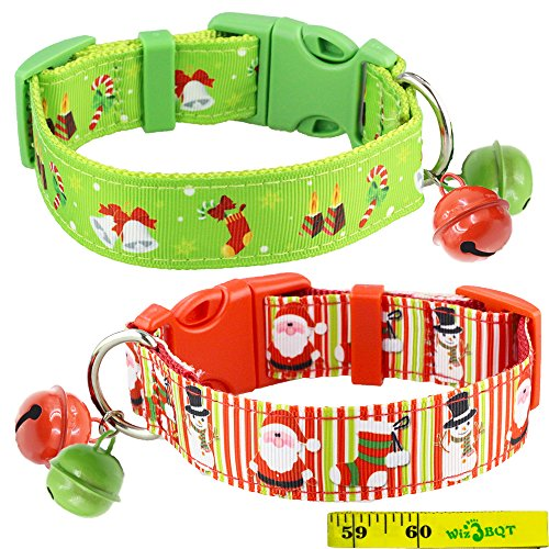 2 Pack Cute Soft Adjustable Sturdy Nylon Festive Christmas Holiday Collars with 2 Bells for Medium to Large Dogs, 1 Inch Wide (Christmas Dog Collar Collars)