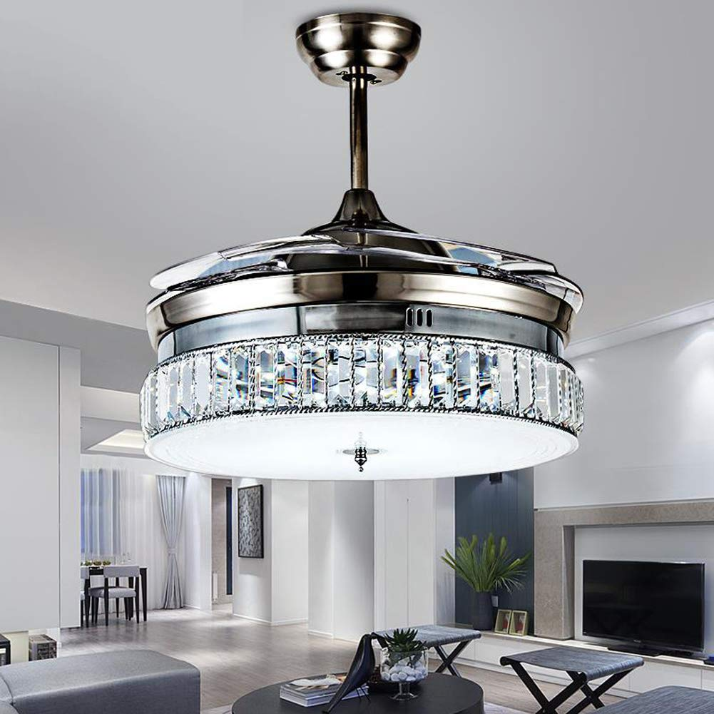 36 Inches Crystal Dimmable Ceiling Fan Light Indoor Remote Control LED Pendant Light Luxury Frequency Silent Invisible Ceiling Chandelier (Gold 42in)