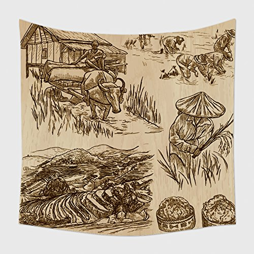Home Decor Tapestry Wall Hanging Agriculture Life Of A Farmer Rice Crop Collection Of Hand Drawn Vector Illustrations Set Of 468493889 for Bedroom Living Room Dorm (Rice Farmer Halloween)