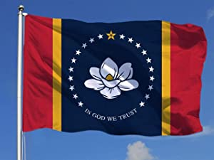 LyneeRan New Mississippi State Flag, in God We Trust Flag, Magnolia Flag, Brass Grommets Vivid Color 3x5 Feet Double Sided Pattern Home Decoration, Garden Decoration, Outdoor Decoration