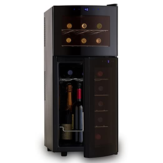 Amazon.com: Wine Enthusiast Silent 21 Bottle Dual Zone Wine Refrigerator  With Curved Doors: Kitchen U0026 Dining