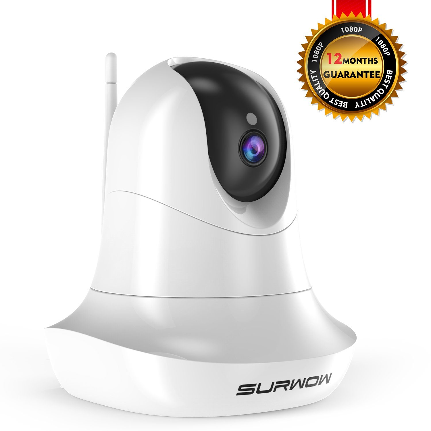 SURWOW Wireless IP Camera -1080P Wifi Surveillance Cameras Wireless HD with 2 Megapixel,Night Vision, Zoom/Pan/Tilt Control, Two-Way Audio for Baby,Pet Monitor and Home Security (WHITE)