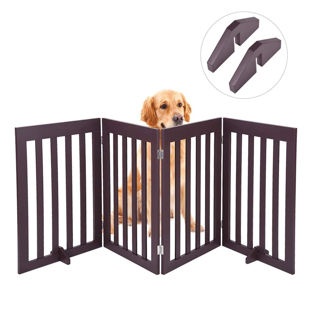 ErYao Shipped from USA, Dog Gate Freestanding Pet Gate Puppy Gate 4 Panel Step Over Fence Safety Fence, Wood Pet Gate for House Doorway Stairs, 78.7 x 31.3 inches (Brown) by ErYao
