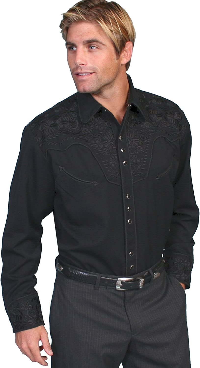 SCULLY Mens Floral Embroidered Navy Retro Western Shirt