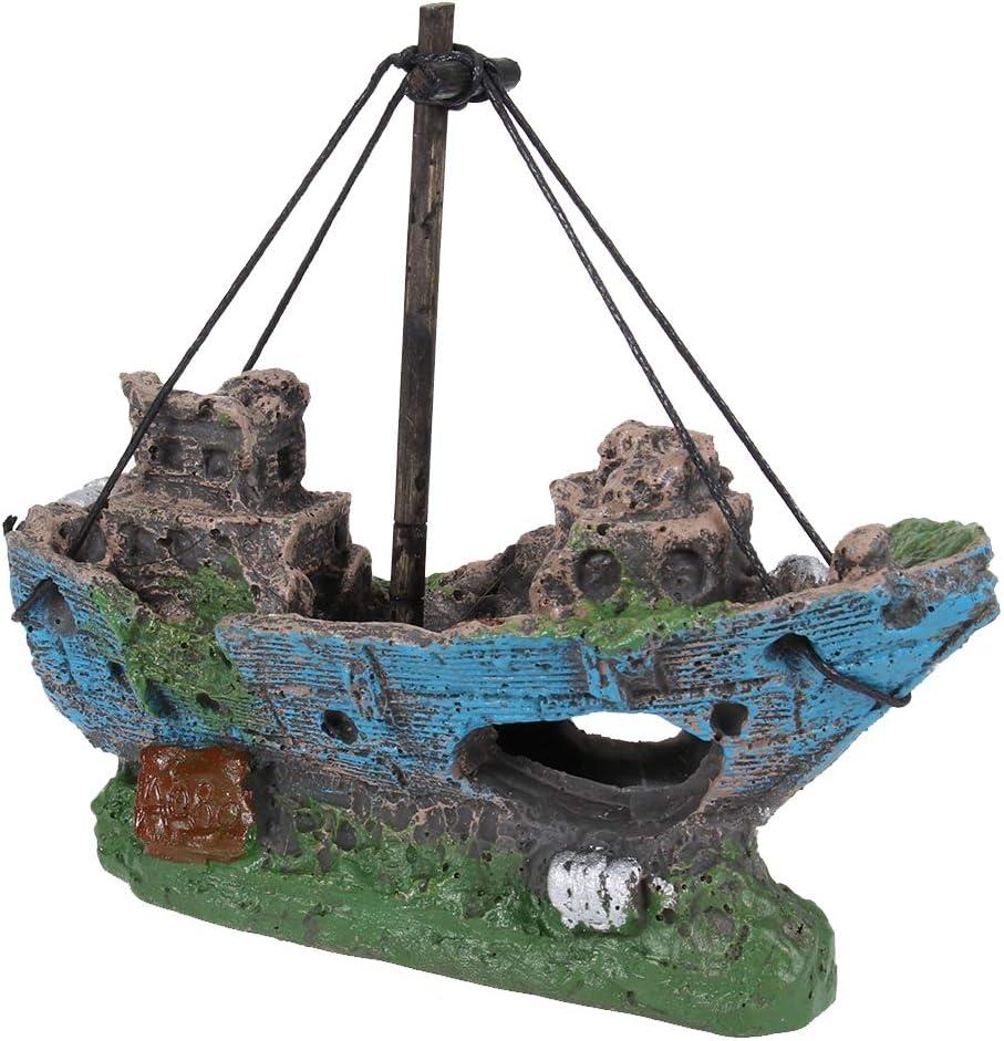 UEETEK Barco Acuario, barco Corsair Barco a vela hundido para decoración de acuarios