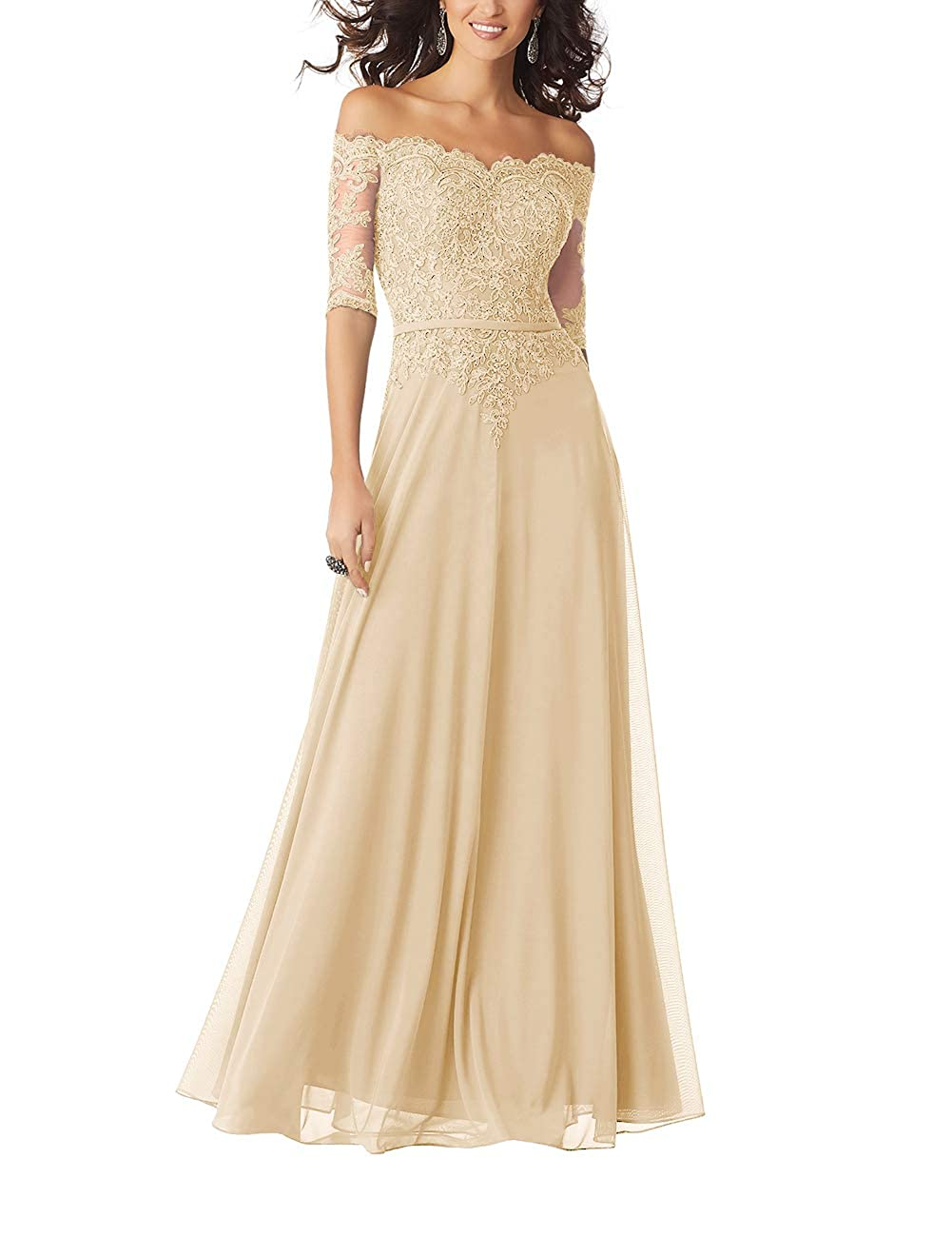 Champagne Women Lace Formal Evening Gown Half Sleeves Mother The Bride Dress