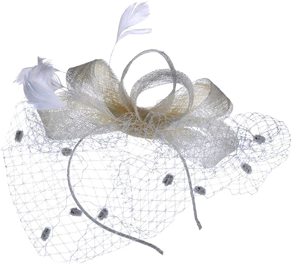 GREFER Hats for Womens Mesh Hat Ribbons Feathers Wedding Party Hat Headwear with Hair Clip and Hairband