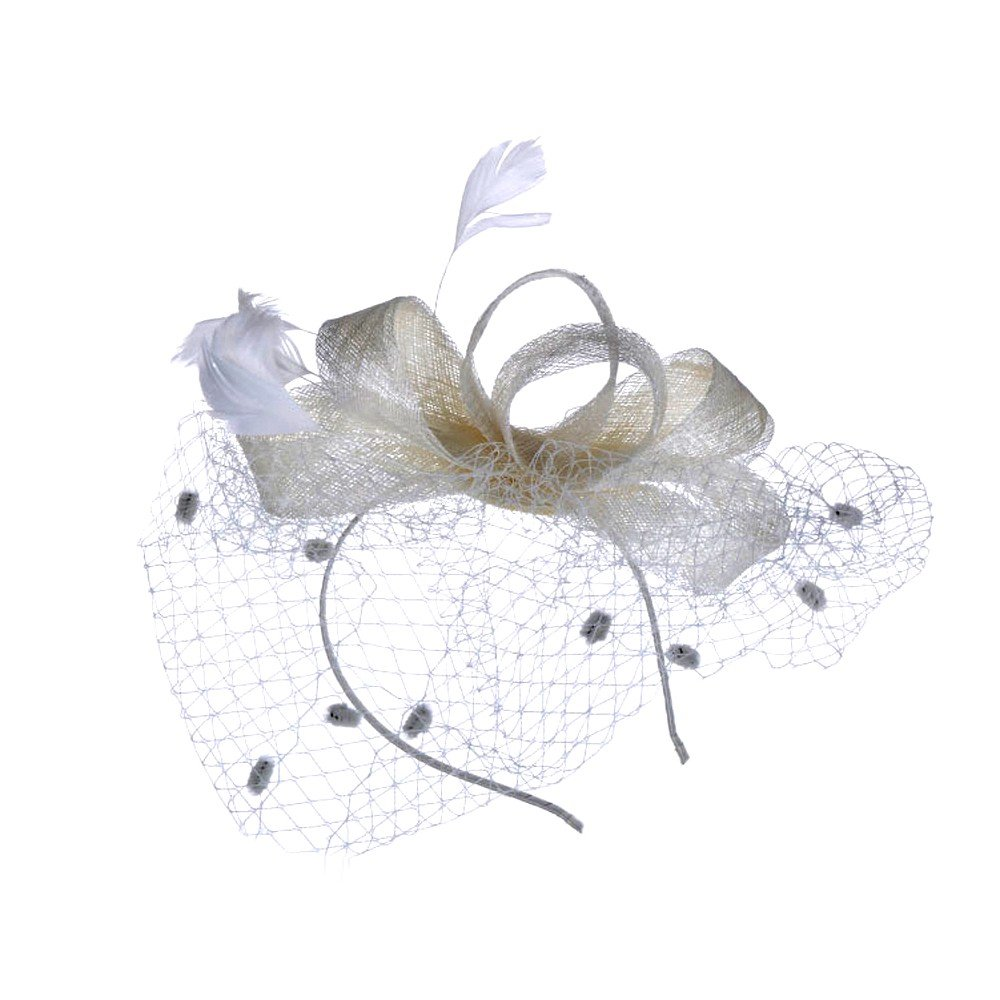 1KTon Womens Hat Fashion Bowknot Mesh Hat Ribbons and Feathers Wedding Party Hat