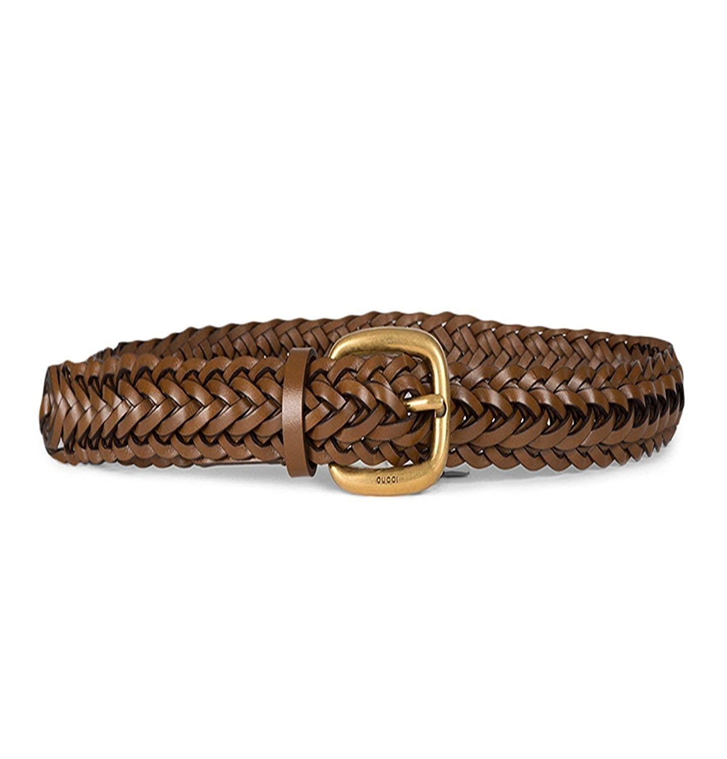 d768da597fb Amazon.com  Gucci Women s Braided Leather Gold Buckle Belt 380606 Brown   Clothing