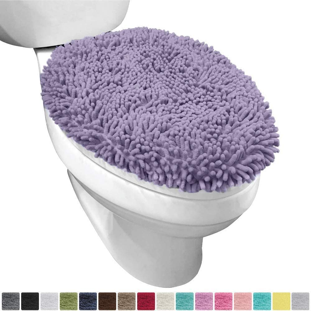 Gorilla Grip Original Shag Chenille Bathroom Toilet Lid Cover Large Size Machine Washable 19.5 x 18.5 Inches Turquoise Ultra Soft Plush Fabric Covers Fits Most Size Toilet Lids for Bathroom