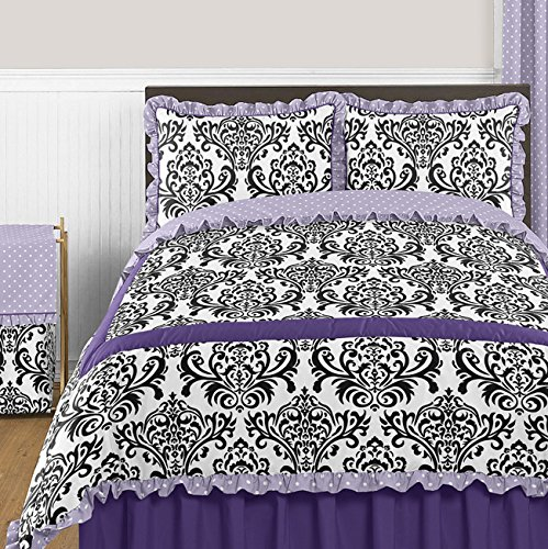 Sweet Jojo Designs Sloane Lavender Purple White Polka Dot and Damask 3 Piece Girls Full / Queen Bedding Set (Black And Purple Damask Bedding)