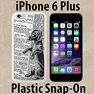Unique Dachshund Newspaper Custom made Case/Cover/skin FOR iPhone 6 PLUS -White- Plastic Snap On Case ( Ship From CA) by mcsharks