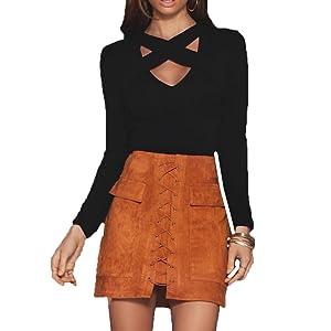 Women's Fashion Long Sleeve Deep V-neck Blouse Shirts Tops