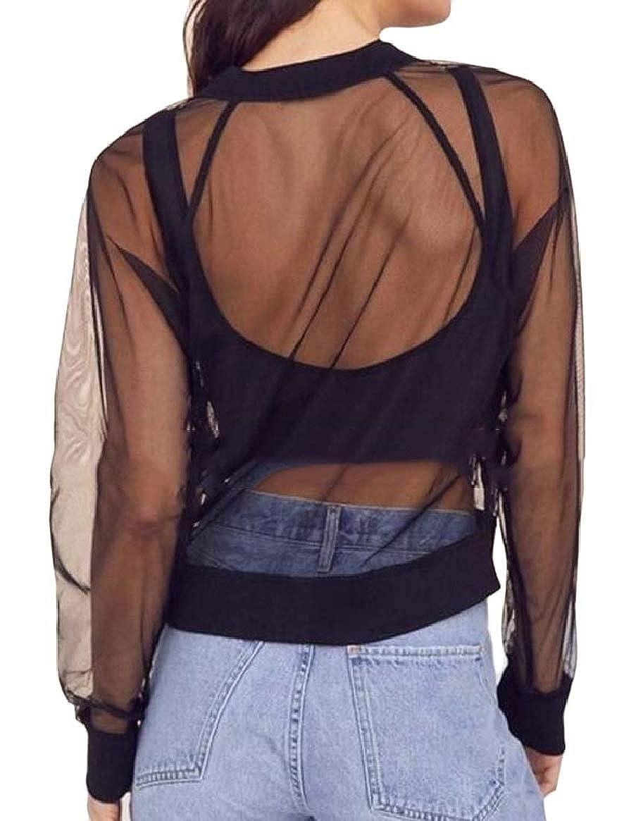 HTOOHTOOH Womens Mesh Full Zip Jacket Long Sleeve Workout Sports Jacket Top