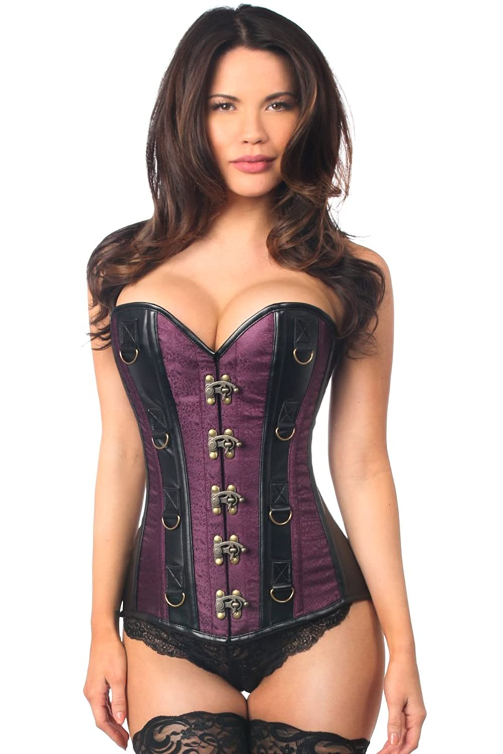 Daisy corsets Women's Top Drawer Brocade and Faux Leather Steel Boned Corset