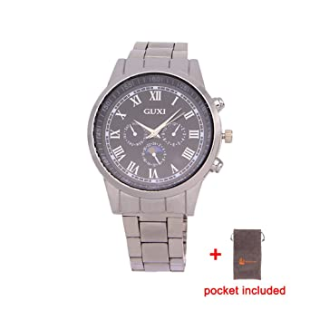 2016 New Businiess Fashion Full Steel Silver Watch three fake small dials female Man Luxury Casual