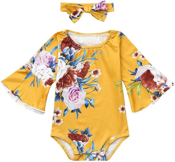 Toddler Baby Girls Bodysuit Short-Sleeve Onesie Hot Tea Print Rompers Winter Pajamas