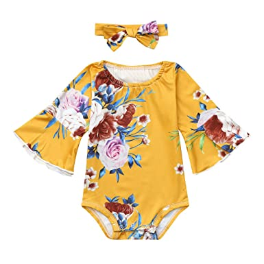390a9fa2640 Amazon.com  Winsummer Newborn Baby Girl Flare Long Sleeve Floral Print  Bodysuit Romper Jumpsuit Headband Sunsuit Outfits  Clothing