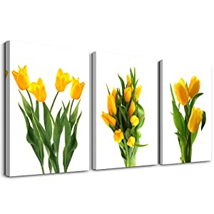 modern Yellow tulip plants flowers Canvas wall art for bedroom bathroom wall decor Canvas Prints for living room Decoration office Home Decorations mural kitchen wall painting posters Artworks