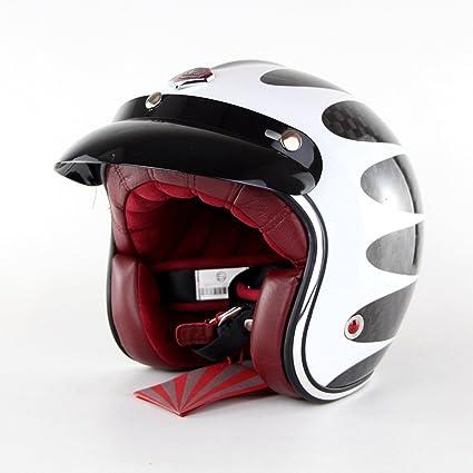 zyy Casco 12K Fibra de Carbono Vintage Motocicleta Half Riding Promedio Código Protección Doble Lente Anti