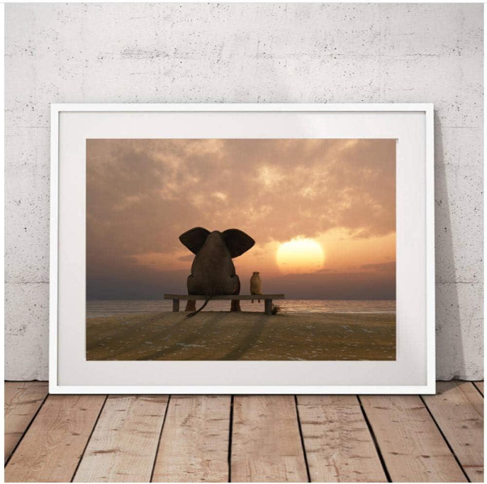 Arte Elefante y Perro Mirando al Atardecer Lienzo Pintura Impresiones Modernas Cuadros de Pared para Sala de Estar decoración del hogar Pared 50x70 cm sin Marco