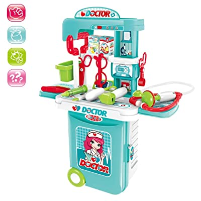Wotryit Kids Doctor Kit Toy Medical Kits Pretend-n-Play 3 in 1 Pretend Play-Doctor Kit for Kids with Handy Trolley Suitcase for Kids, School Classroom, Easter Stuf: Clothing