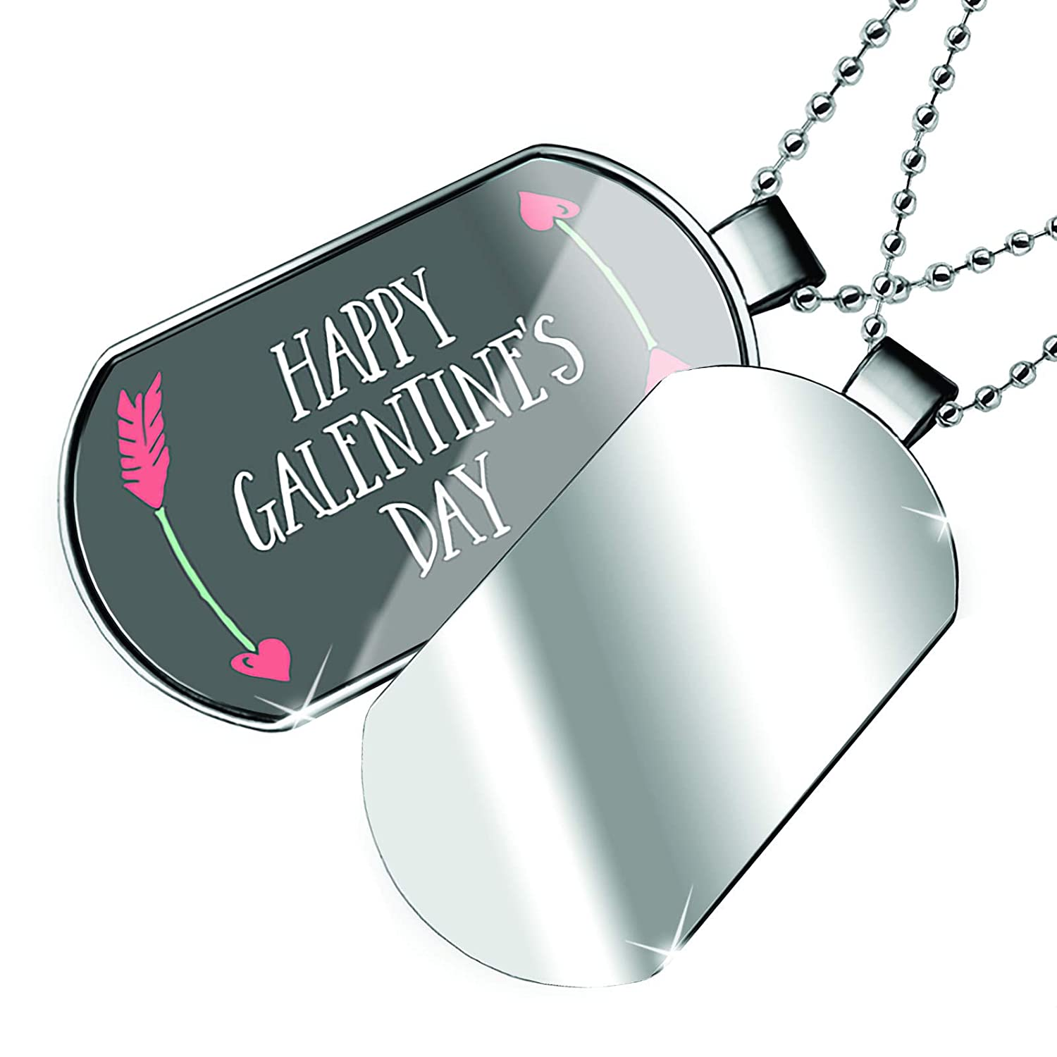 NEONBLOND Personalized Name Engraved Happy Galentines Day Valentines Day Arrows of Love Dogtag Necklace