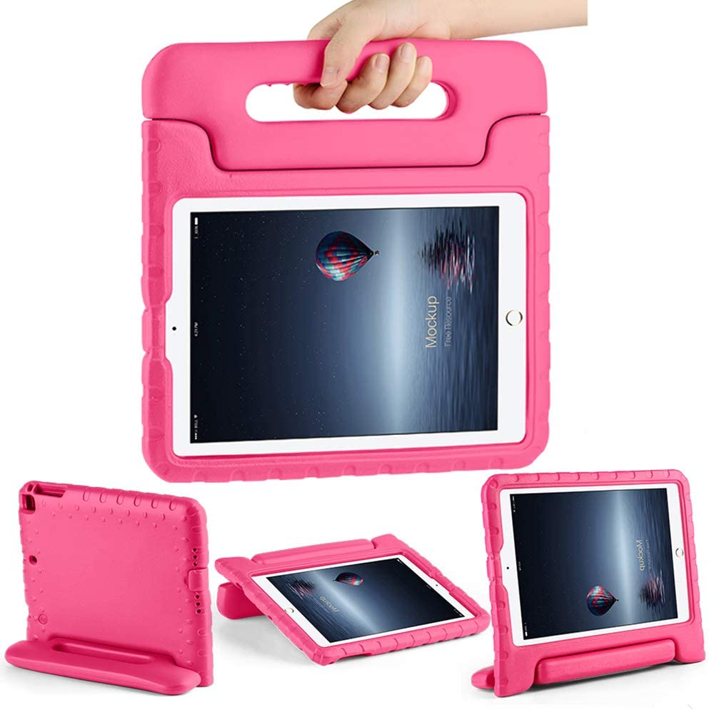 CAM-ULATA Case for iPad Air 1 Air 2 iPad 2018/2017 Case for Kids 9.7 inch Shock Proof Apple 5th 6th Generation Cover Kids Proof Pink