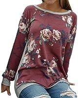 morecome Women Rose Flower Blouse Turn Down Collar Chiffon Shirts