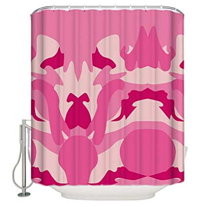 Customize Shower Curtain Pink Camouflage Waterproof Polyester Fabric Bathroom Decor 72x96inch