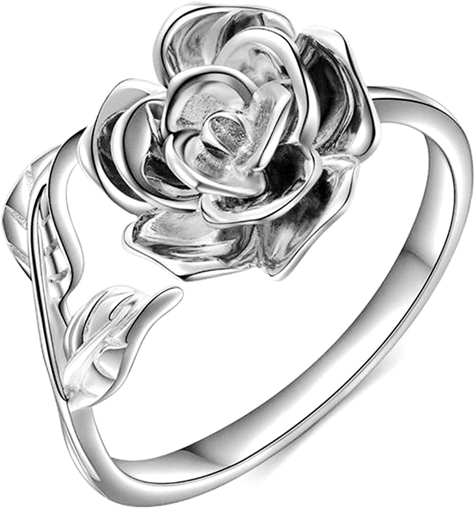Jude Jewelers Retro Vintage Stainless Steel Flower and Leaf Promise Statement Anniversary Ring